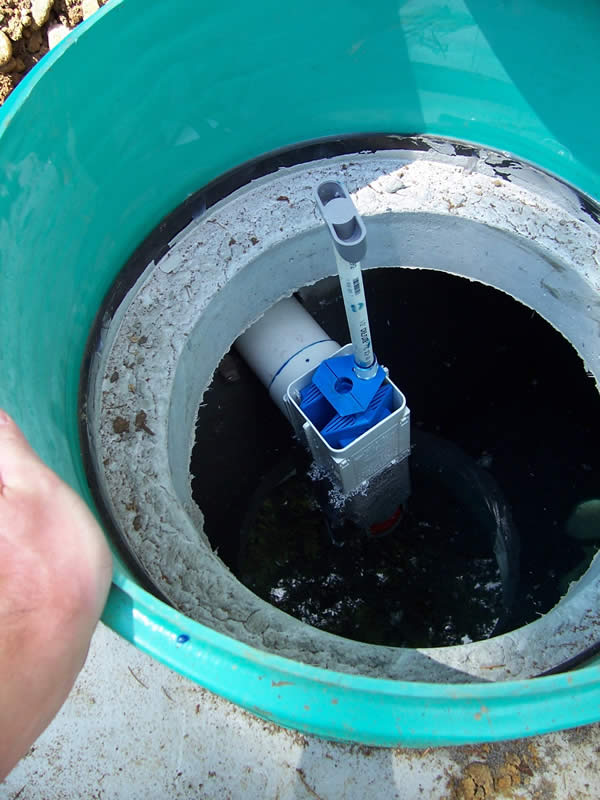 An outlet filter with handle installed in a standard septic tank.